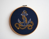 Hand Embroidery Hoop Art - Anchors Away
