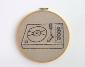 Hand Embroidery Hoop Art - Record Player Religion