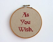 Hand Embroidery Hoop Art - Westley