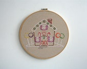 Hand Embroidery Hoop Art - Gingerbread House - CLEARANCE