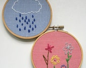 Hand Embroidery Hoops - April Showers Bring May Flowers (Set of 2)