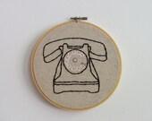 Hand Embroidery Hoop Art - Telephone Talker