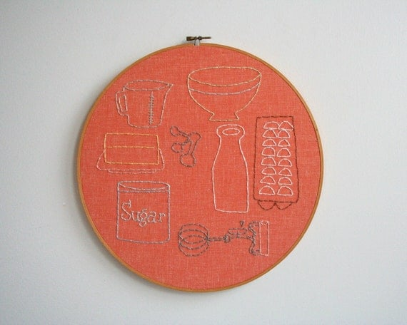 Hand Embroidery Hoop - Baking Buddies - SALE