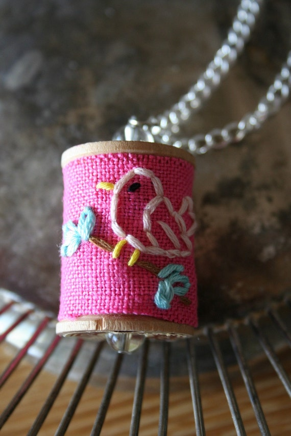 Stitched Vintage Spool Necklace - Chirp - SALE