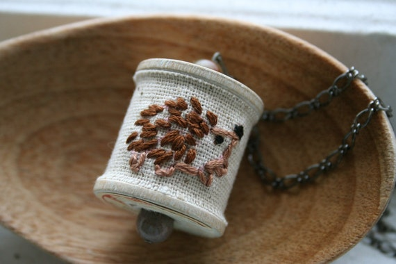 Stitched Vintage Spool Necklace - Happy Hedgehog
