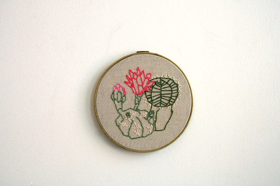 Hand Embroidery Hoop - Southwest Succulents