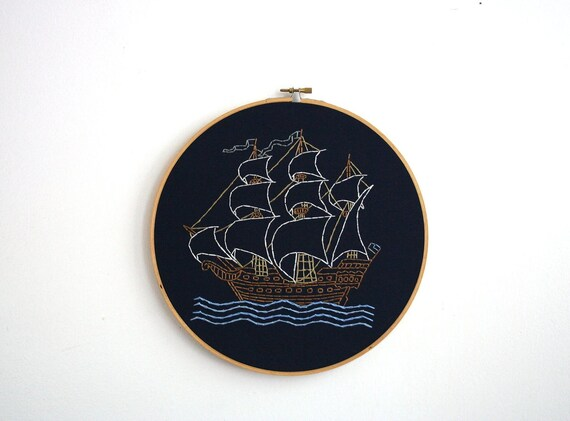 Hand Embroidery Hoop - Sailing Ship