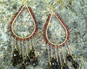 Garnet and Topaz chandelier earrings