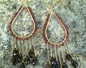Garnet and Topaz chandelier earrings