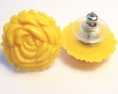 Stud Earrings - Yellow Lucite Roses