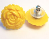 Stud Earrings - Yellow Lucite Roses
