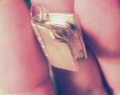 Hand sculpted fine silver Closed olde book charm pendant