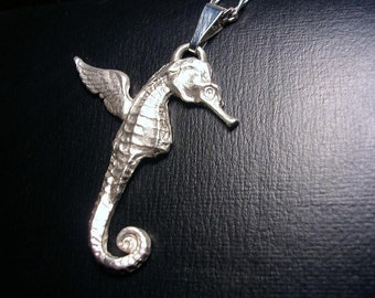 Very Large Flying seahorse fine silver pendant