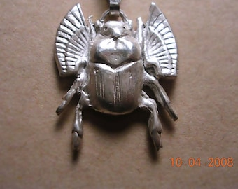 Lucky flying  beetle sculpted in fine silver