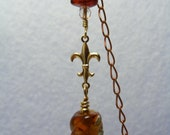 RESERVED  OOAK   Brass Bookmark Bee Baltic Amber Brass Chain Brown Lampwork Glass Bead Handmade
