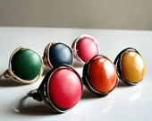 Rainbow Tagua Bead Rings - Choose Color: Red, Orange, Yellow, Green, Blue, Pink - Wire-Wrapped w/ Choice of Wire - Custom Made in Your Size