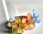 Pastel Spring Flowers Ring - Three Flower Beads in Blue, Orange, and Yellow - Wire-Wrapped with Silver Wire