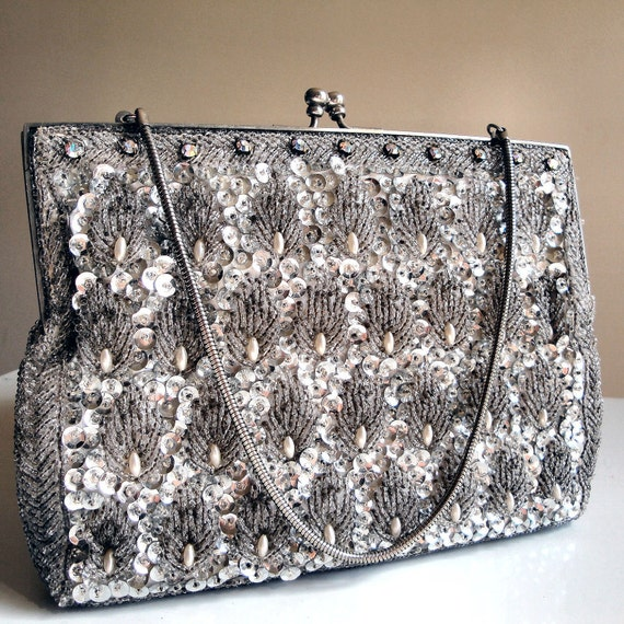 Vintage Silver Beads and Sequins Purse or Clutch - Shell or Leaf Pattern with Silver Rhinestone Clasp and Frame - Convertible Clutch
