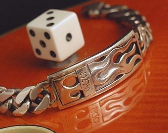 Chunky Flame Plaque Link UNISEX Bracelet Sterling Silver Rockabilly OOAK Artist Made Handcrafted Sterling Link Bracelet