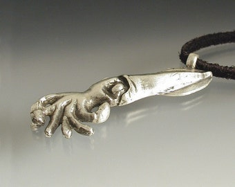 Sterling Squid Super Cool Original Design And Artist Made Funky Carved Squid Silver Necklace
