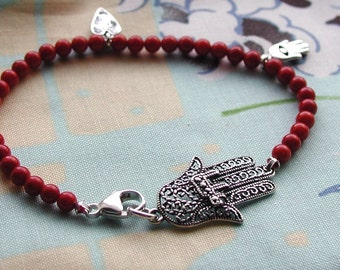Hamsa Good Fortune Bracelet With Charm Hamsa Dangles On Red Coral Beads OOAK Handcrafted