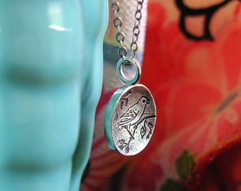 LAST ONE! Sweet Little Bird Pendant Necklace Sterling Silver Vintage Image With Matching Antique Chain OOAK Artist Made