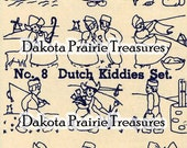 Depression Era Dutch Children Iron-on Hand Embroidery Transfer Designs 1930s