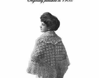 1908 Edwardian Gibson Girls Knit Crochet Shawl Pattern Book Shawls Capes Cape Scarves Scarf