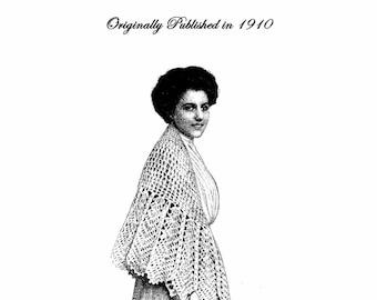 1910 Edwardian Titanic Era Crochet Knit Shawl Shawls Scarf Patterns Book DIY