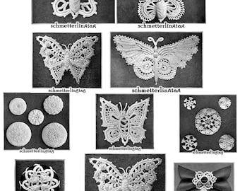 1912 Gibson Girl Irish Crochet Book Butterfly Butterflies Laces Lace Flower Flowers Motif Pattern Emerald Isle DIY Crocheted Reenactment