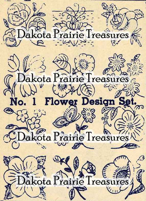 Depression Era Flower Iron-on Hand Embroidery Transfer Designs 1930s