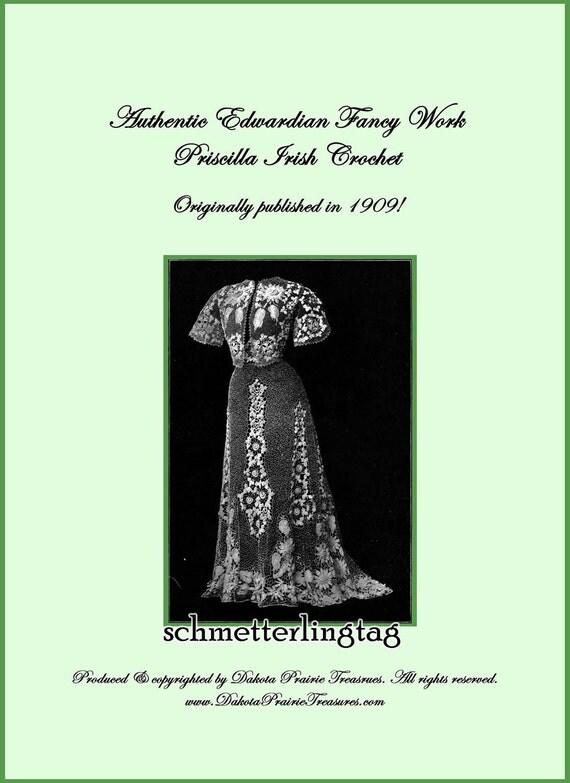 1909 Gibson Girl Irish Crochet Book Laces Lace Flower Motif Pattern Emerald Isle DIY Crocheted Reenactment