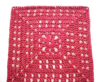 PDF... Autumn Collection................Autumn Red 12 Inch Square (Crochet Pattern)