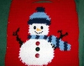 Christmas Crochet pattern, Smiling Snowman Gift Tote