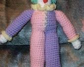 Crochet e-pattern, Clown Doll, yarn or thread