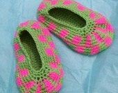 PDF Crochet Pattern, Neon Checks Slippers