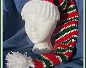 Crochet Pattern, Peppermint Stripes Stocking Hat