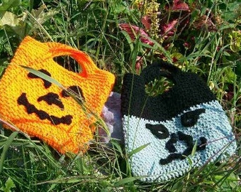 Funny Faces Hallowe'en Totes, Crochet Pattern PDF