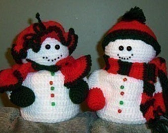 Mr and Mrs Snowman Toilet Tissue cover, Crochet Pattern instant download
