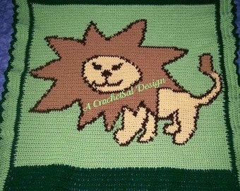 PDF Crochet Pattern, Friendly Lion Baby Afghan