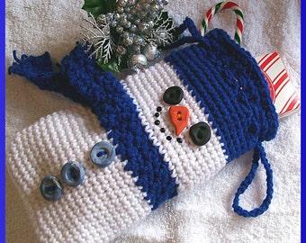 Crochet Pattern, Christmas Gift Bag, Snowman
