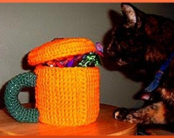 Crochet Pattern, Pumpkin Mug Caddy