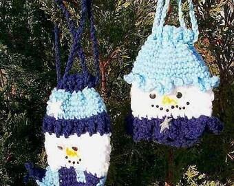 Snowman Gift Bags Pouches, Crochet pattern