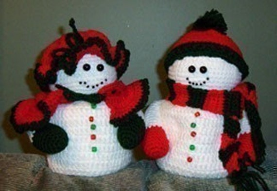 Mr And Mrs Snowman Toilet Tissue Cover Crochet Pattern