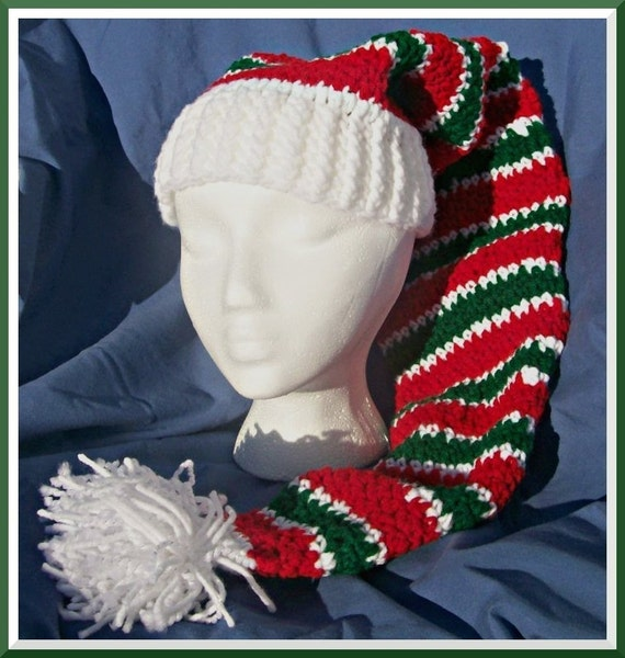 Free Crochet Stocking Hat Patterns For Adults : Crochet Pattern Peppermint Stripes Stocking Hat Instant