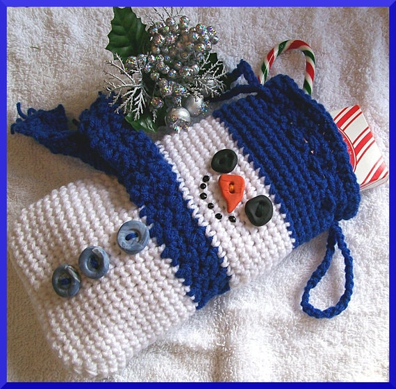 Free Crochet Patterns For Xmas Gifts : Crochet Pattern Christmas Gift Bag Snowman