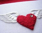 SALE - Fluttering Heart Hand Embroidered Picture