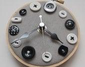 SALE 30% Off - Monochrome Mini Button Wall Clock