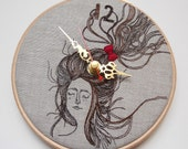 Persinette - Clock - Embroidered Linen Folk Wall Clock - Collaboration piece with Heidi Burton - FREE UK Shipping 1/2 PRICE