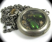 Steampunk Beetle Necklace with Genuine Insects Moonstone One of a Kind Work of Art - KAFKA CLOCK Available Only from Nouveau Motley